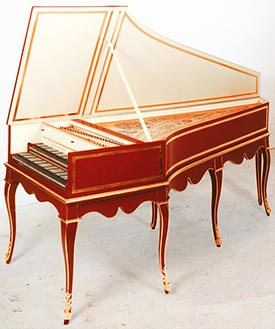 Goermans double-manual harpsichord on cabriole stand