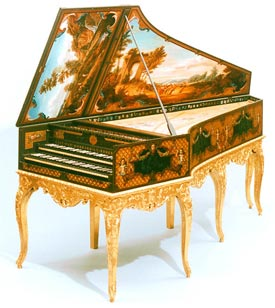 Hemsch double-manual harpsichord, close decorative copy (Sheridan Germann)