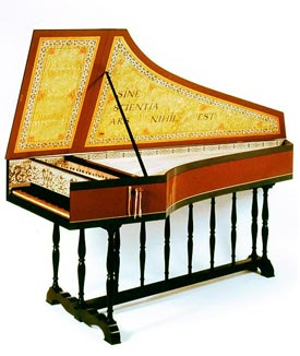 Single-manual harpsichord after Moermans, 1584, in period decoration