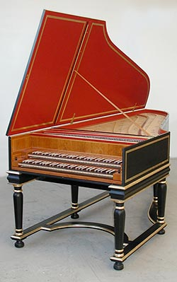 Large German double-manual harpsichord on custom stand